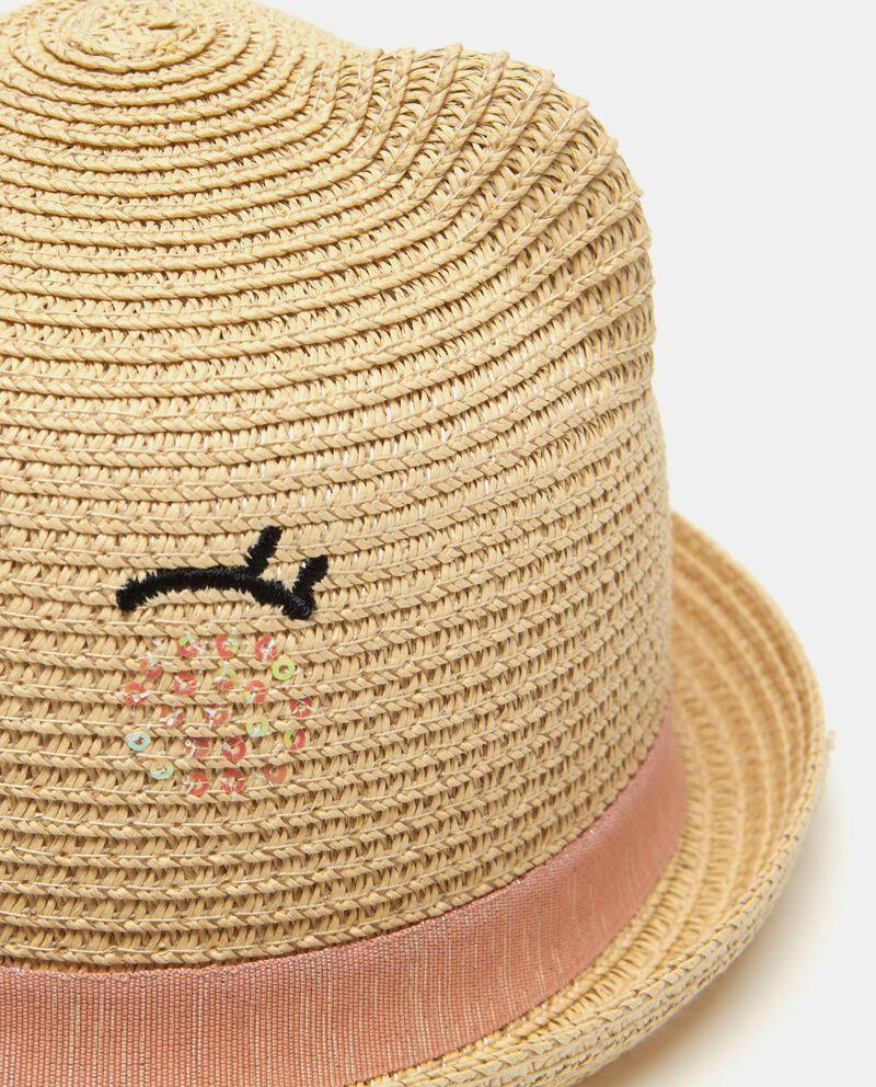 Cappello effetto paglia ricamo e strass