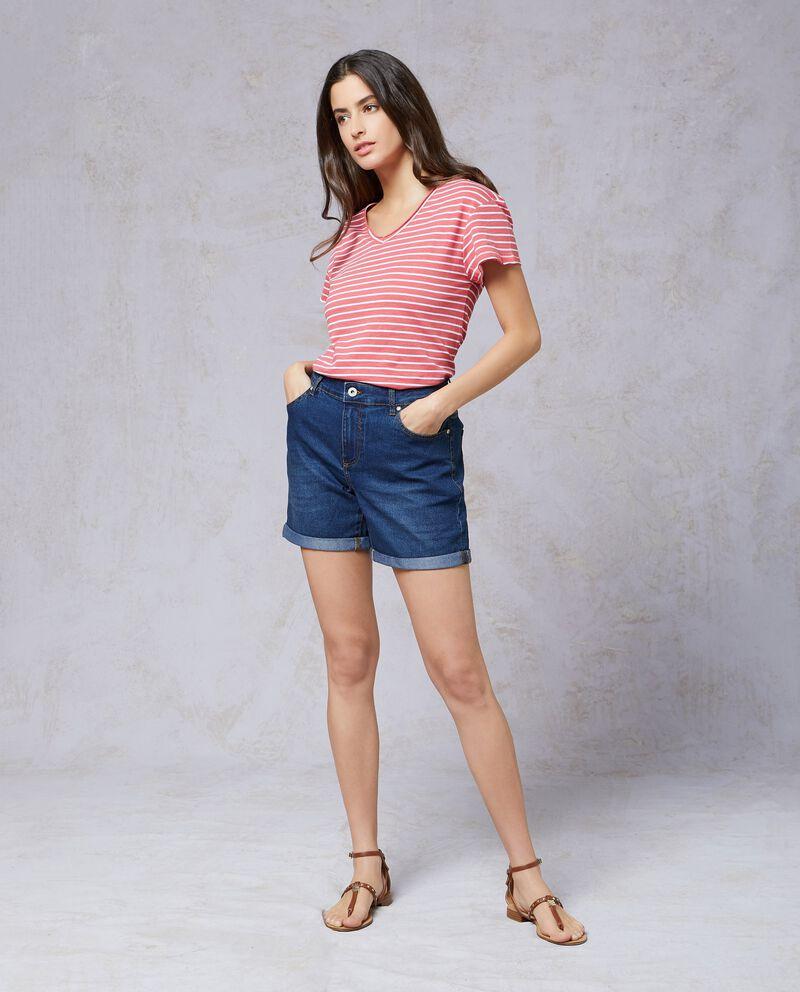 Shorts in denim cuciture a contrasto