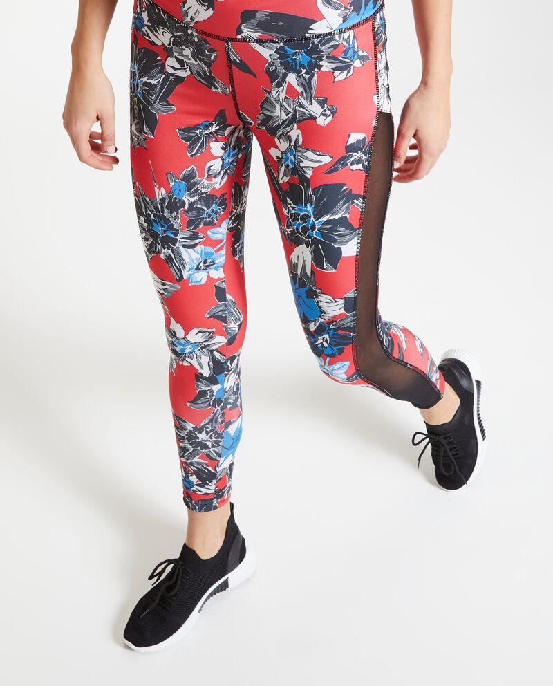 Leggings fitness fiori donna