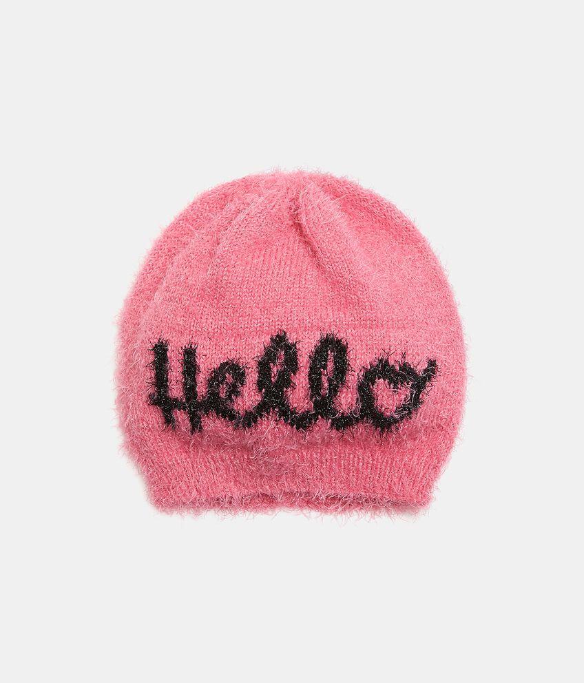 Cappellino con lettering e filo lurex bambina