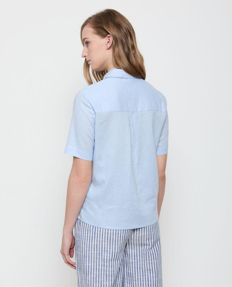 Camicia in lino misto viscosa tinta unita donna single tile 1