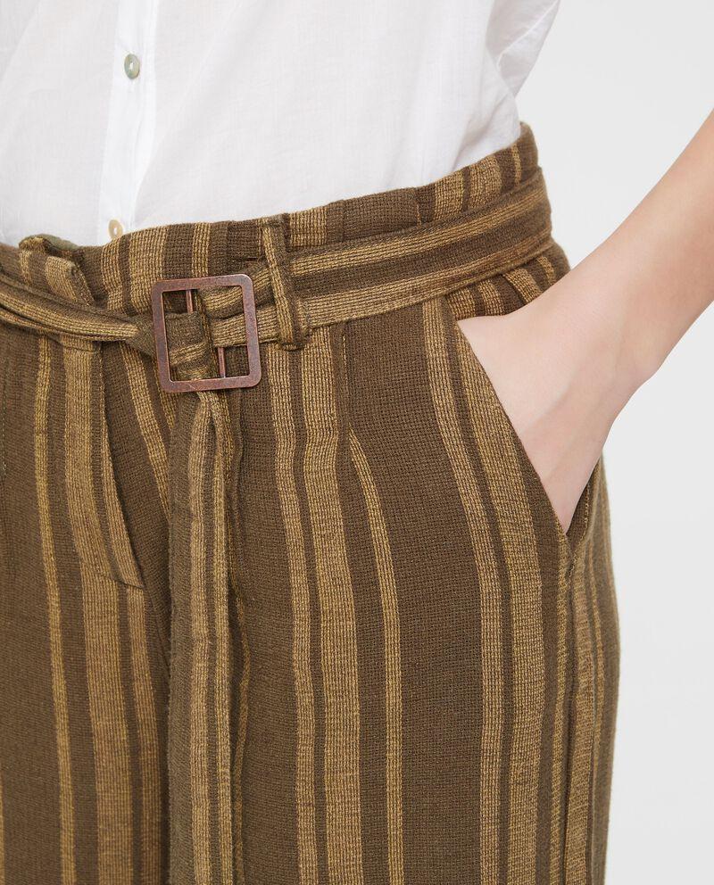 Pantaloni in lino e cotone a palazzo a righe