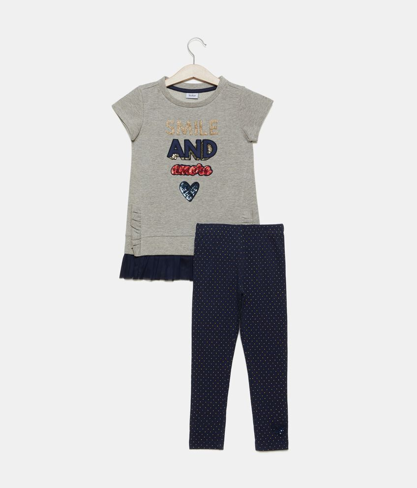 Set jogging felpa e leggings pois bambina