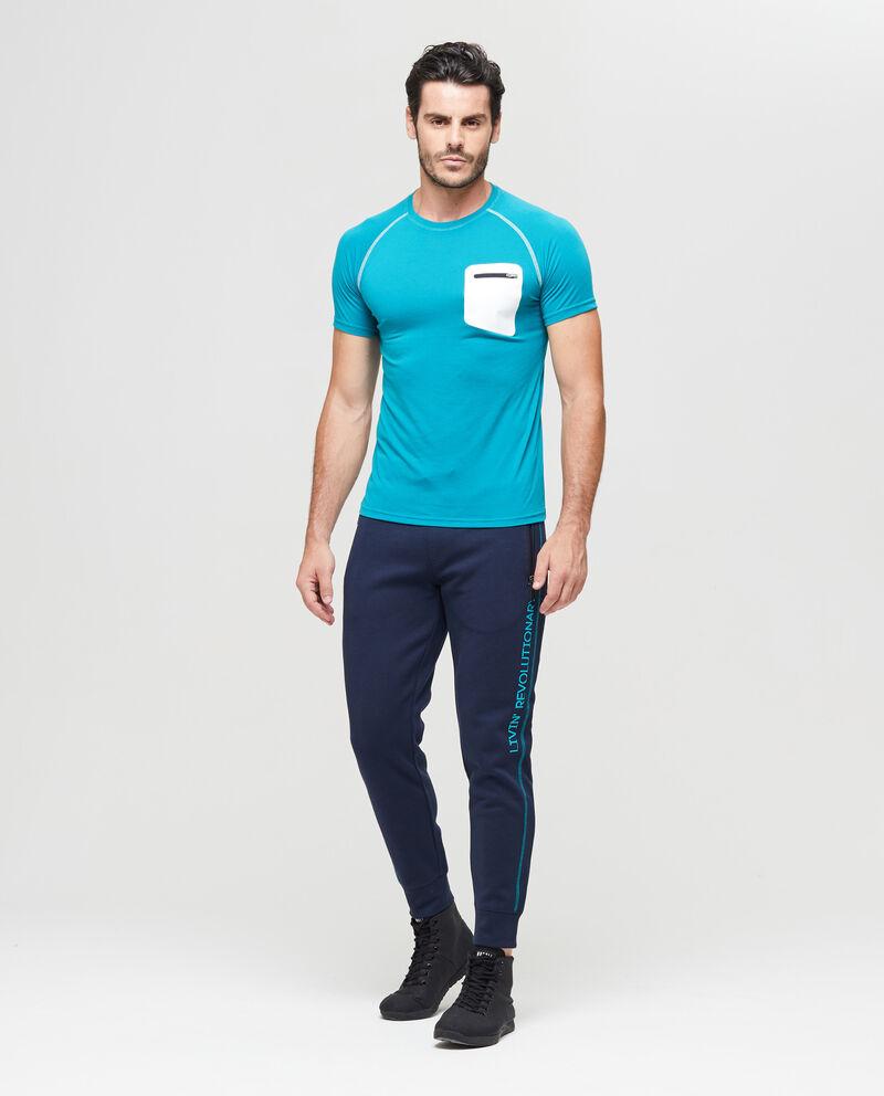 T-shirt sportiva con taschino e zip