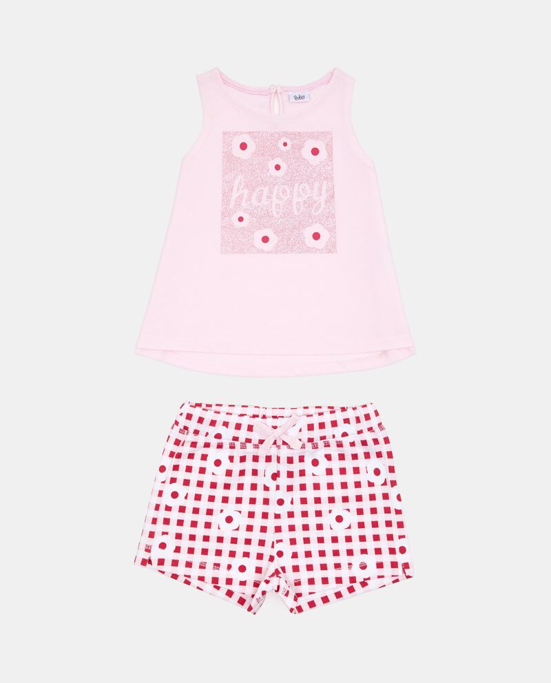 Set t-shirt glitter shorts quadri floreale