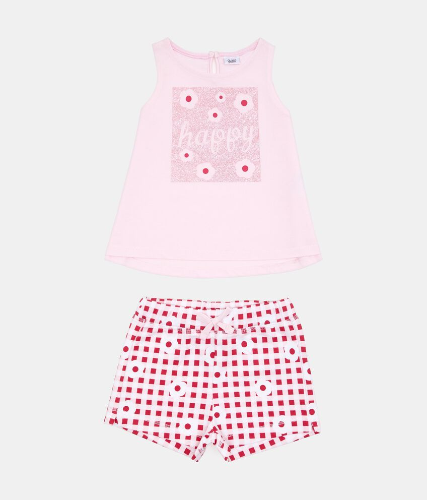 Set t-shirt glitter shorts quadri floreale