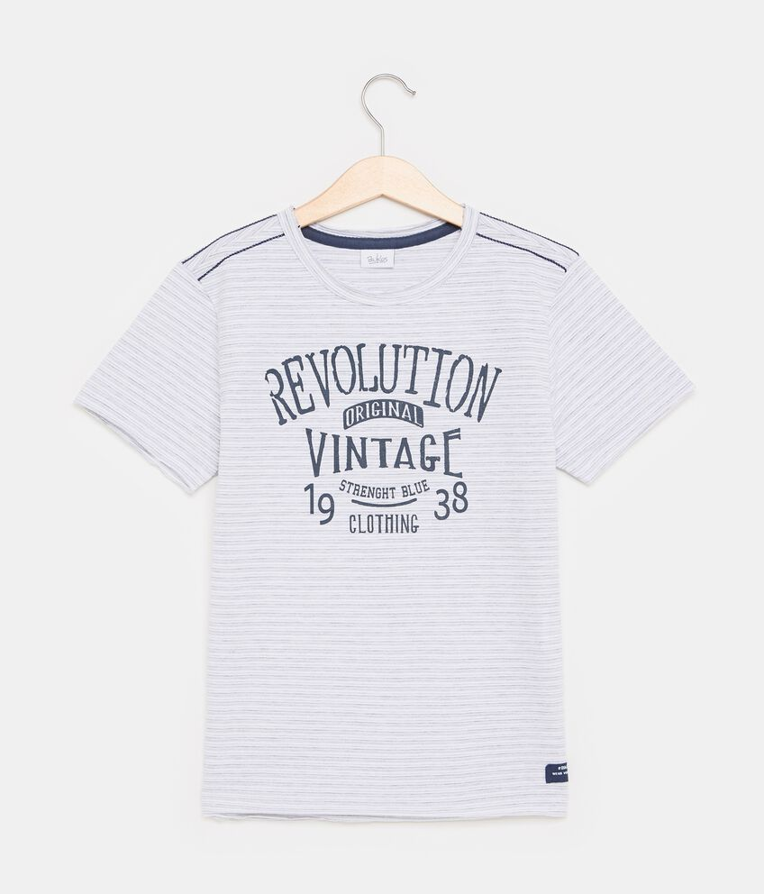 T-shirt in cotone misto poliestere con motivo a righe ragazzo