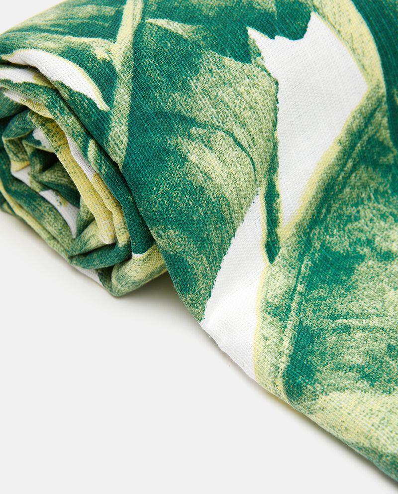 Telo in puro cotone con fantasia foglie