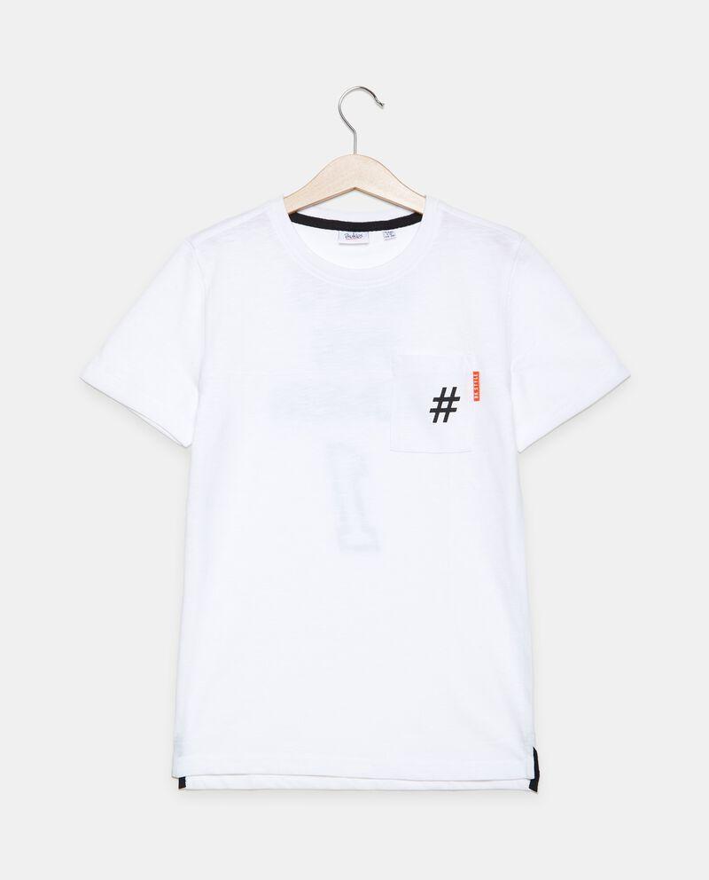 T-shirt in cotone organico jersey con taschino ragazzo