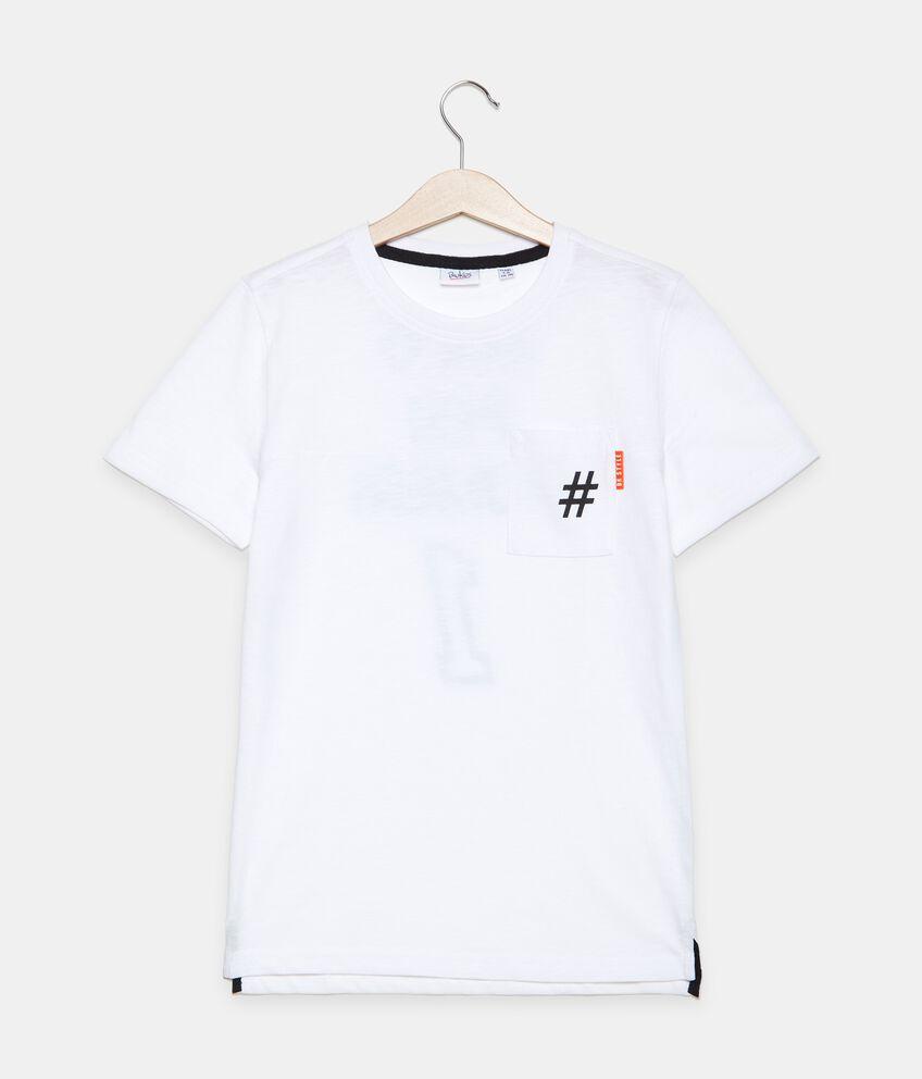 T-shirt in cotone organico jersey con taschino ragazzo double 1