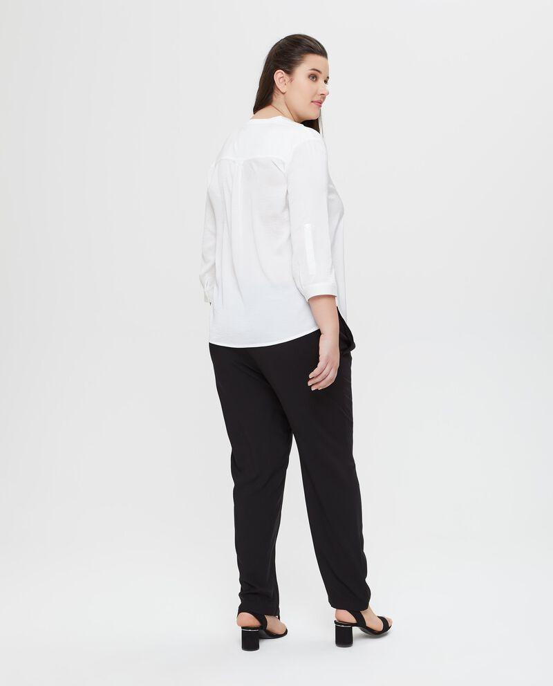 T-shirt bianca a maniche lunghe Curvy