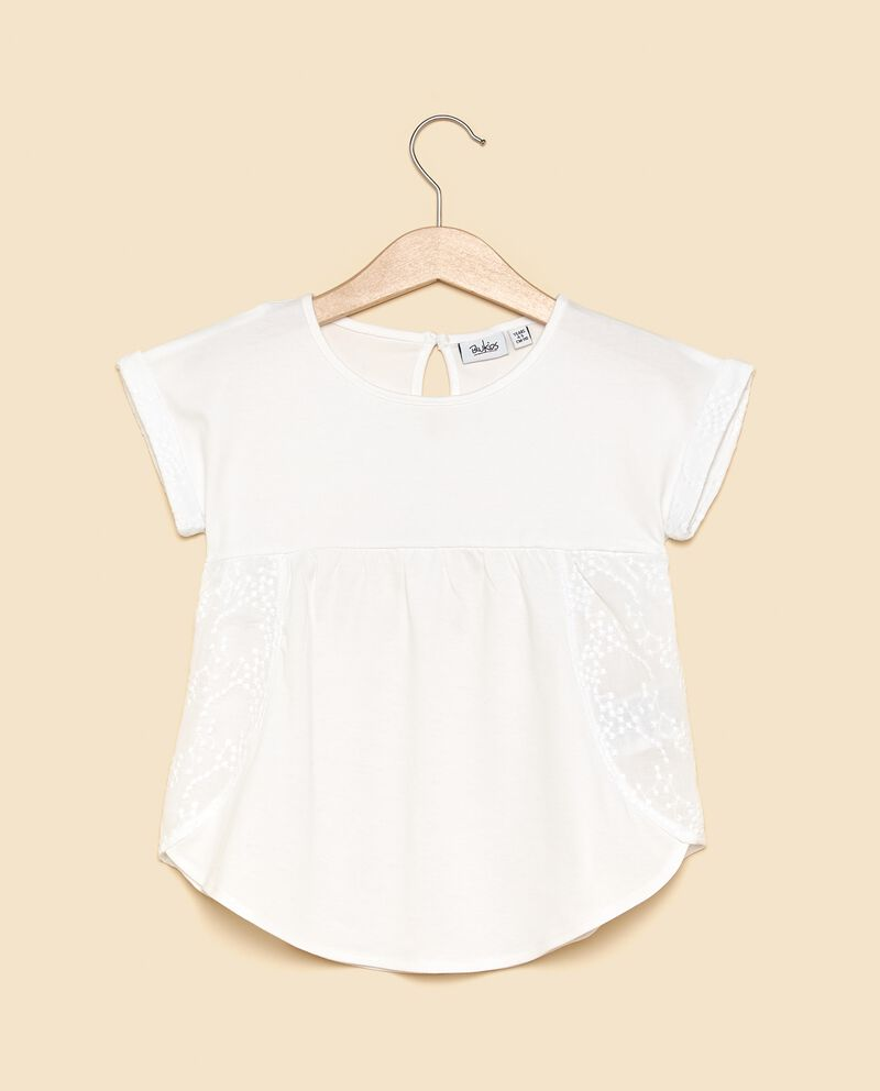 T-shirt in cotone biologico con inserto sangallo bambina