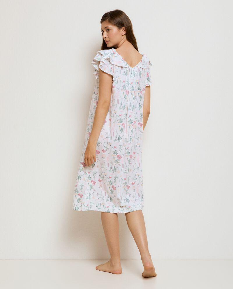 Camicia da notte a maniche corte volant in cotone organico donna single tile 1