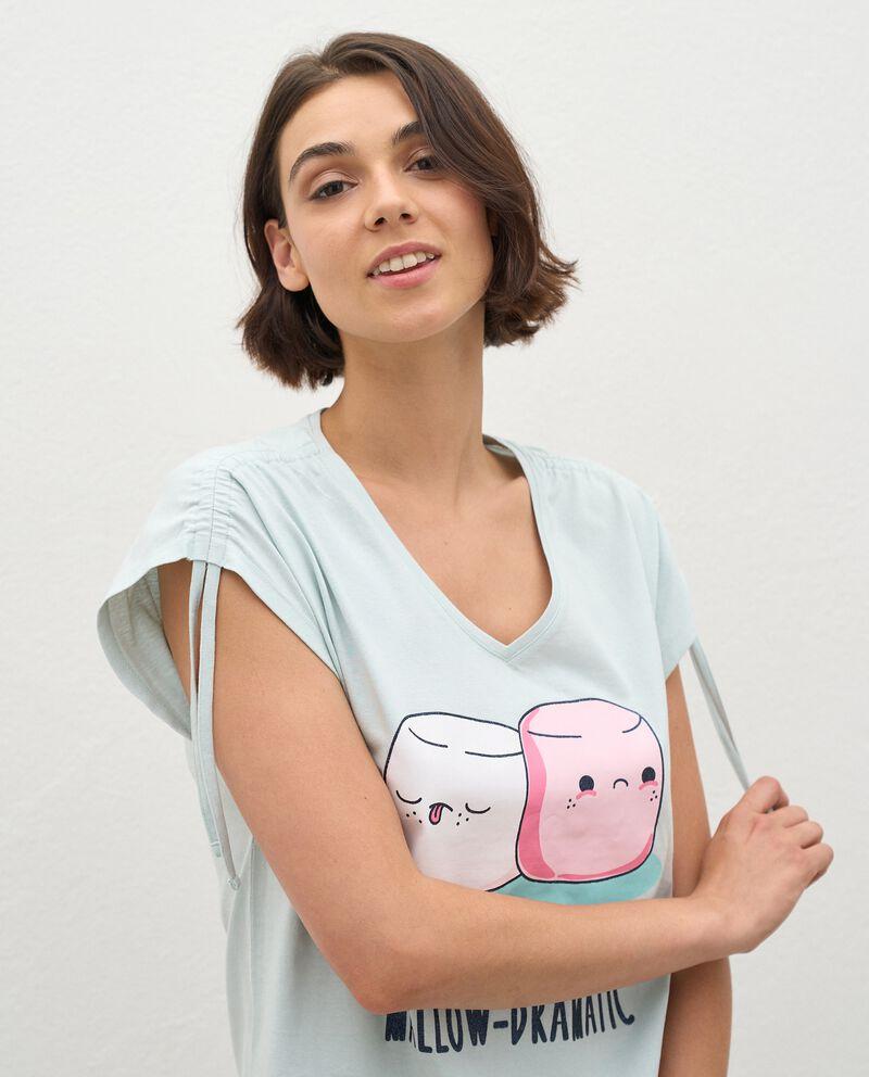 Pigiama con t-shirt e bermuda di puro cotone donna single tile 2