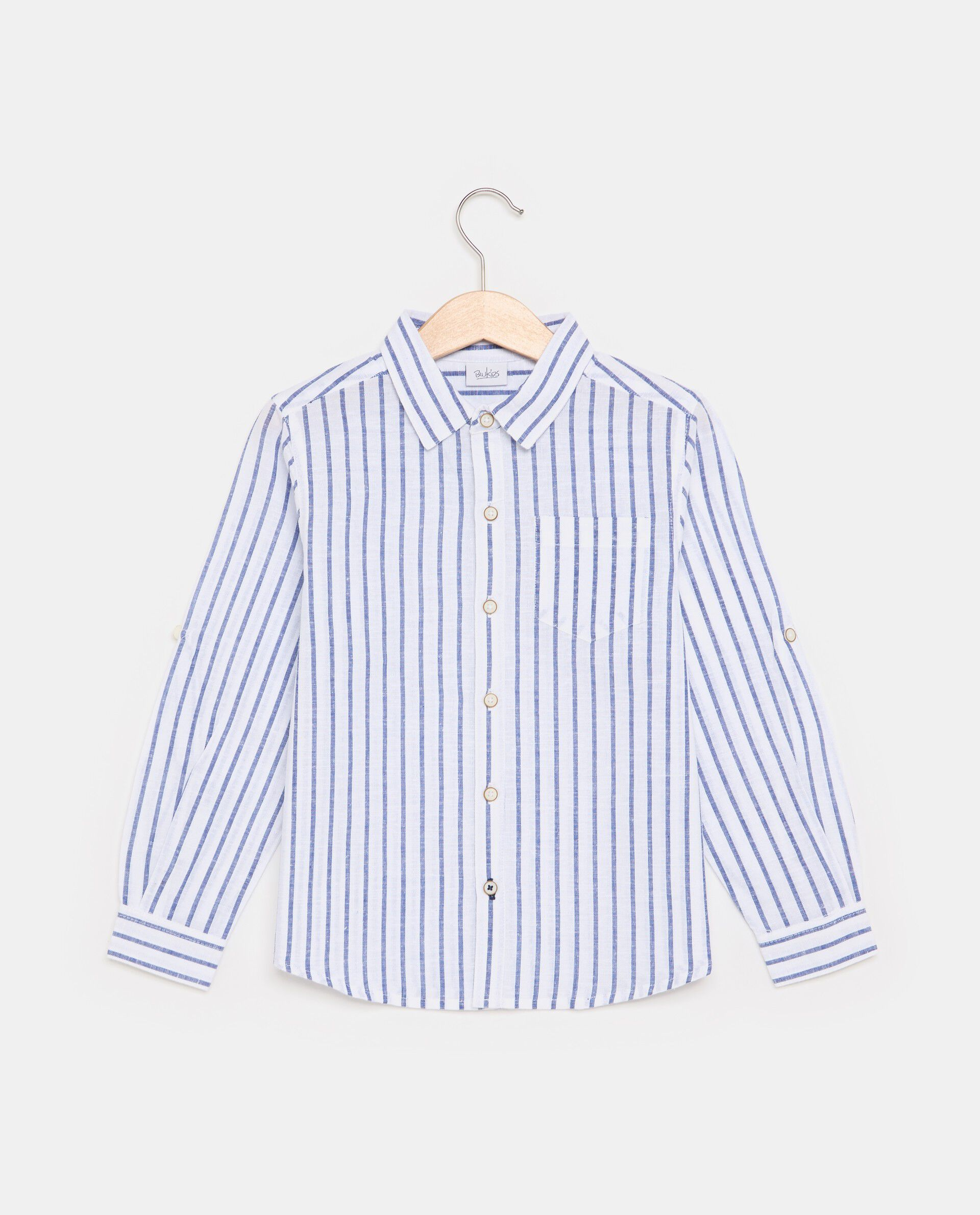 Camicia in cotone misto lino con motivo a righe bambino