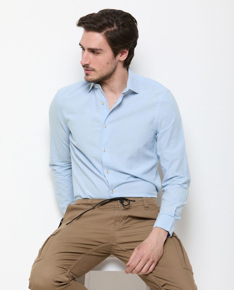 Camicia tinta unita di puro cotone uomo cover