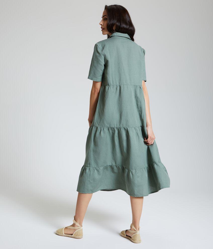 Abito maniche corte donna in cotone misto lino