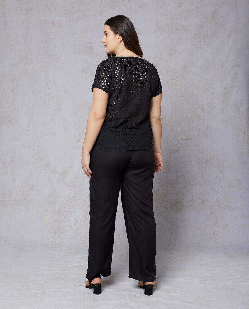 T-shirt in cotone nera traforata Curvy