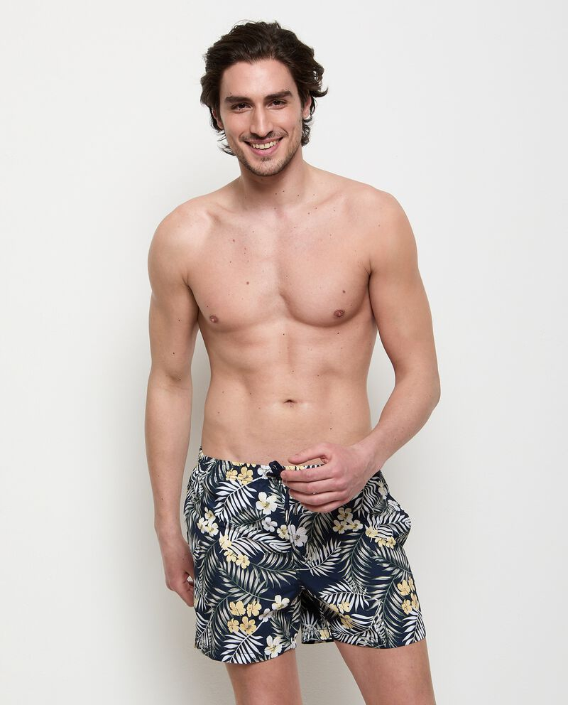 Costume shorts con stampa tropicale uomo