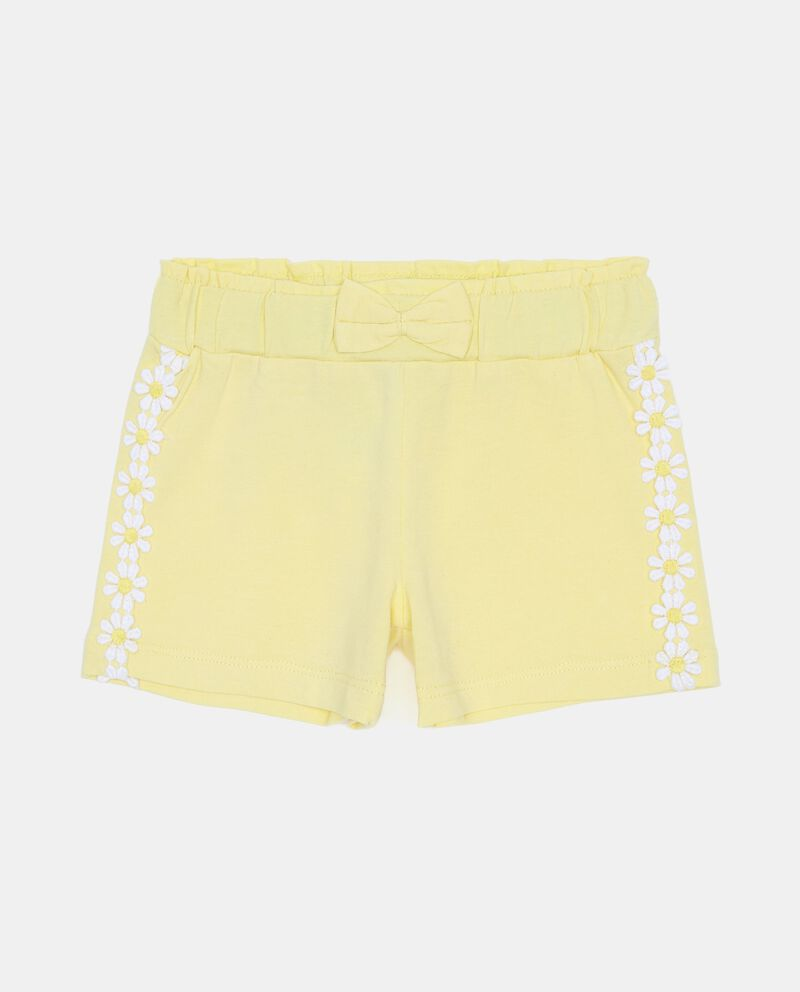 Shorts stretch con margherite sui lati