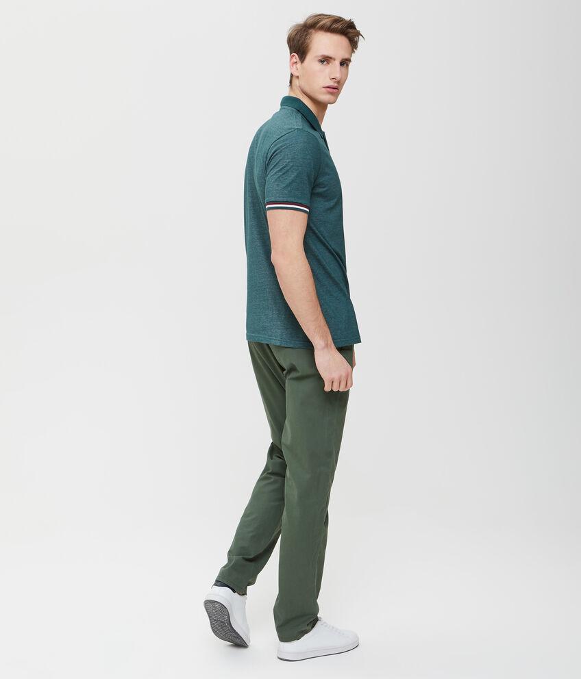 Polo in cotone effetto mélange verde