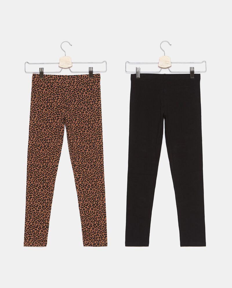 Bipack con 2 leggings di cotone biologico stretch ragazza cover