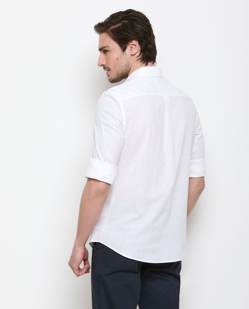 Camicia in misto lino tinta unita uomo single tile 1
