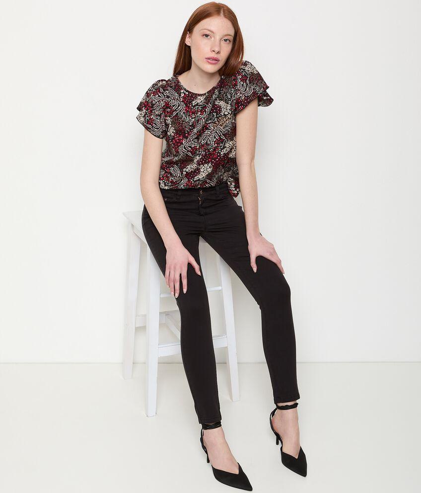 Pantaloni tinta unita in cotone stretch donna double 1