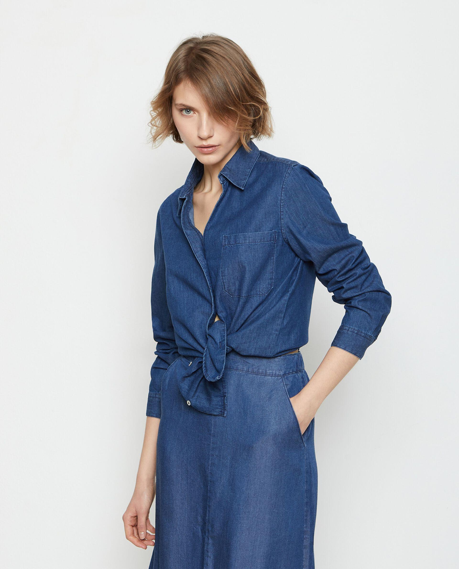 Camicia denim in puro cotone donna